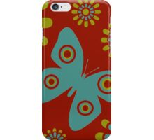 Red And Teal Butterfly iPhone Case/Skin