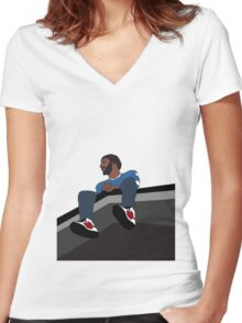 J.Cole 2014 Forest Hills Drive Women's Fitted V-Neck T-Shirt