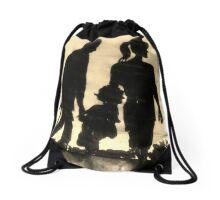 Family Day Spring Silhouette Drawstring Bag