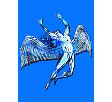 ICARUS THROWS THE HORNS - bright blue Photographic Print