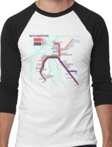 San Francisco BART Map Men's Baseball ¾ T-Shirt