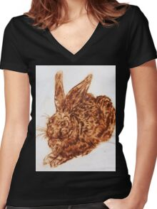 Bunny print v.2 Women's Fitted V-Neck T-Shirt
