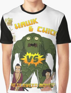 Hawk and Chick VS the Seaweed Monster Graphic T-Shirt