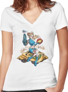 Pin Up Samus Bomber Girl Women's Fitted V-Neck T-Shirt