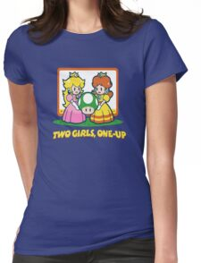 Mario Bros. Two Girls, One Up  Womens Fitted T-Shirt