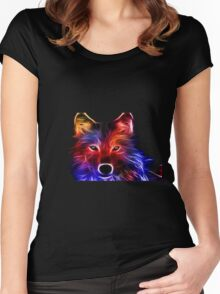 Abstract Wolf Design | Logo | High Quality Women's Fitted Scoop T-Shirt