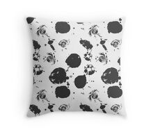 Black grunge ink stains Throw Pillow