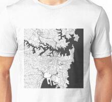 Sydney City Map Gray Unisex T-Shirt