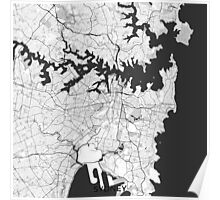 Sydney City Map Gray Poster