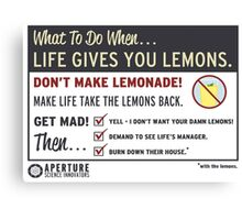 When Life Gives You Lemons - Apeture Science Canvas Print