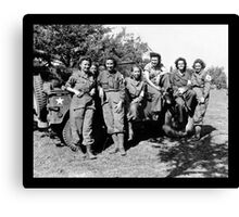 WWII Army Nurses in Fatigues Posing with Trucks Canvas Print