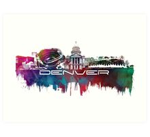 Denver skyline city blue Art Print