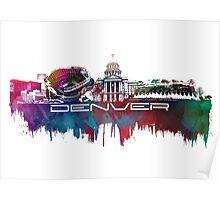 Denver skyline city blue Poster