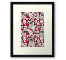 White roses and owls Framed Print