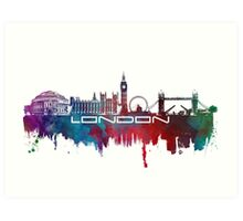 London skyline city blue  Art Print