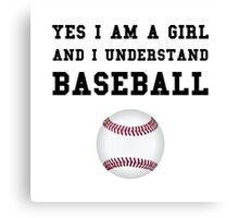 Girl Baseball Canvas Print