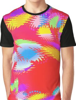 Patches of Color on Red - Digital Art Graphic T-Shirt