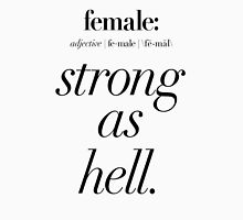 Female: Strong as Hell (black type on light background) Kimmy Schmidt Women's Fitted Scoop T-Shirt