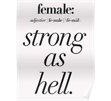 Female: Strong as Hell (black type on light background) Kimmy Schmidt Poster
