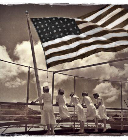 American Flag Waves Over Nurses Sticker