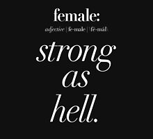 Female: Strong as Hell (white type on dark background) Kimmy Schmidt Women's Fitted Scoop T-Shirt