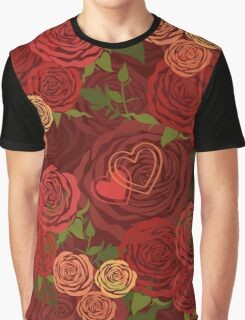 Red Valentine's Day floral pattern Graphic T-Shirt