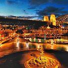 Sydney at Night: Rocks area & Bridge by George Petrovsky