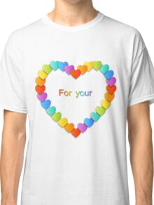 Valentine's Day pattern with beautiful colorful hearts Classic T-Shirt
