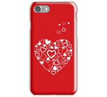 Valentine's Day pattern with beautiful white hearts iPhone Case/Skin