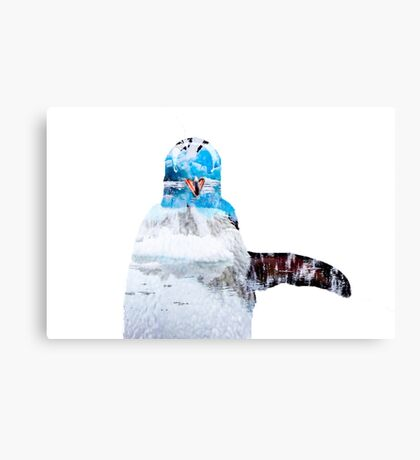 Double Exposure Penguin Canvas Print