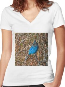 Mountain Blue Jay Women's Fitted V-Neck T-Shirt