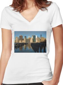 New York City Morning Reflections - Impressions Of Manhattan Women's Fitted V-Neck T-Shirt
