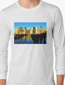 Bright and Sunny New York City Skyline - Impressions Of Manhattan Long Sleeve T-Shirt