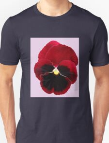 Red Pansy on Pink Background Unisex T-Shirt