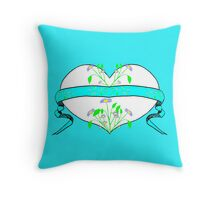 Blue Floral Heart Design by Kat Worth Throw Pillow