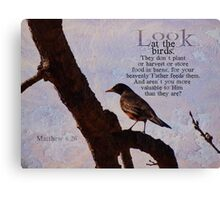 Matthew 6:26 scripture Canvas Print