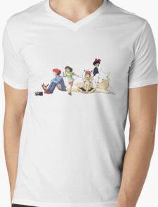 Ghibli Girls Mens V-Neck T-Shirt