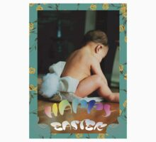 Baby Bunny Happy Easter Card One Piece - Long Sleeve