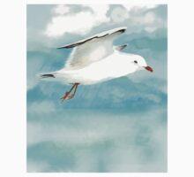 Watercolor Seagull in Rain at Lake Baby Tee