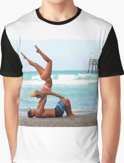 Couples Beach Yoga Graphic T-Shirt