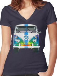 Retro Classic Volkswagen Hippy Van Women's Fitted V-Neck T-Shirt