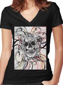 Skull Rush Women's Fitted V-Neck T-Shirt