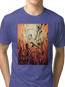 Two Orbs Meet in a Field at Sunset Tri-blend T-Shirt