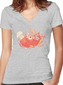Japanese Red Carp Women's Fitted V-Neck T-Shirt