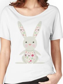Cute Bunny with Flowers   Women's Relaxed Fit T-Shirt