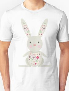 Cute Bunny with Flowers   Unisex T-Shirt