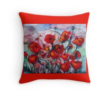 Poppies in nz Throw Pillow