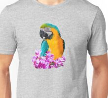 Parrot on a pink flowers Unisex T-Shirt