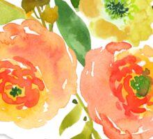 Floral Watercolor, Orange / Peach Renunculus Sticker