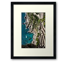 Long and Twisted Walk to the Shore - Azure Magic of Capri Framed Print